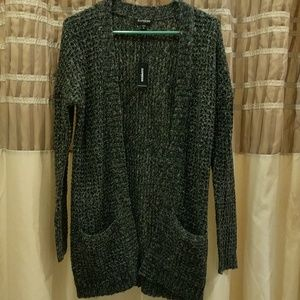 Express Black marbled knitted two pocket sweater